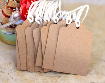 """12 Kraft paper gift tags, birthday, party, scrapbooking 2 x 3"""""""