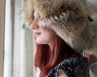Coyote Real Fur Trapper Hat with Ear Flaps - Genuine, Natural Fur Accessory - Unique Headwear Gift Leather Warm Winter Women Headgear Wild