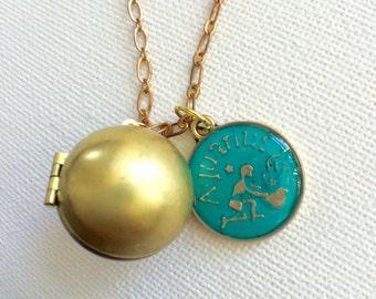 Zodiac Locket, Ball Locket, Horoscope, Ball Locket, Birthday Necklace, Astrology Locket, Minimalist Necklace, Constellation Necklace, Galaxy
