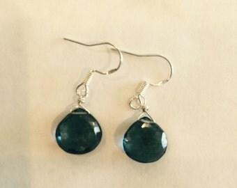 London Blue Topaz Earrings , Quartz Briollete , December Birthstone