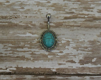 Turquoise Oval Belly Button Ring, Belly Button Ring