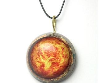 Venus orgonite pendant/Orange orgonite necklace/Emf protection/Orgonite amulet/love amulet/gift for her