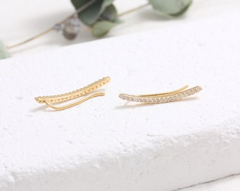 CZ Micro Pave Thin Line Ear Climbers, CZ Slim Curved Line Ear Crawlers-1pair