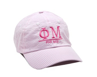 PM Phi Mu Sorority Monogrammed Seersucker Line Baseball Hat.
