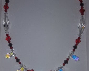 Red and AB Swarovski Crystal Necklace