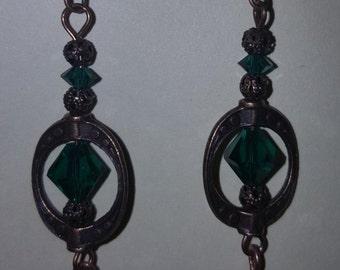 Bronze Earrings w/Swarovski Crystals