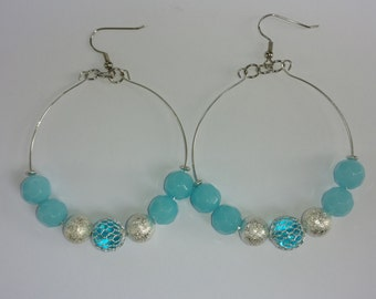 Aqua Beaded Hoop Earrings| Hoop Earrings