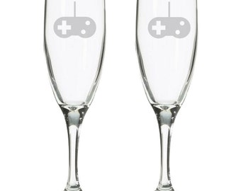 Player 1 Player 2 his hers video game wedding champagne toasting flutes glasses, geeky nerdy wedding gift, 8 bit, gamer gaming wedding gift