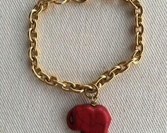 Elephant Bracelet Red