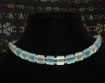Choker with Blue and White Squares