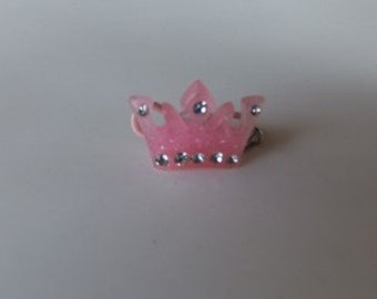 Pink Acrylic Crown with Rhinestones