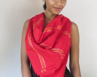 Red Handloom Shawl with Orange Stripes
