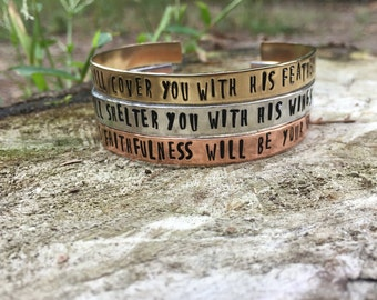 Stackable Cuff Bracelet Set, Psalm 91, Hand Stamped Bracelet, Hand Stamped Jewelry