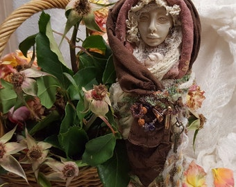 Our Lady of Peace ~ Spirit of Serenity, Santos Art Doll ~ Assemblage Art Figure ~ OOAK Art Doll, Yule tree topper