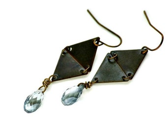 Bronze Double Triangle Earrings Metal Faceted Blue Crystal Drop Tribal Modern Jewelry Gift