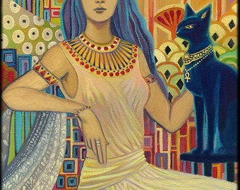 Bast Egyptian Cat Goddess Art Deco 12x18 Poster Print Pagan Mythology Psychedelic Gypsy Goddess Art