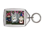 Garden Gnomes Cat Keychain Tabby Cat Fantasy Cat Art Keychain Keyring Cat Lovers Gifts