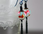Tassel Earrings Featuring Vintage Japanese Tensha Beads  in Matte Clear with Pink and Orange Koi Fish Details