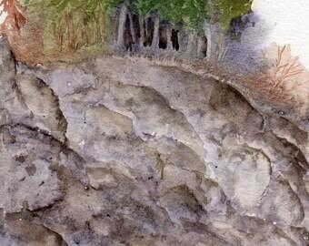 grove on the cliff original watercolor SFA landscape Adirondack Summer