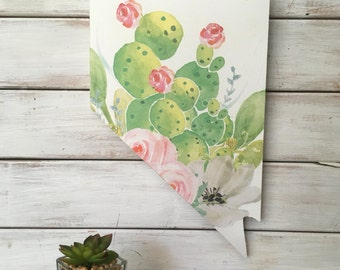 State Home Sign. Nevada.  Nevada Home Sign.  Housewarming Gift.  Nevada wall art. Nevada state sign. Cactus Watercolor. Cactus Art