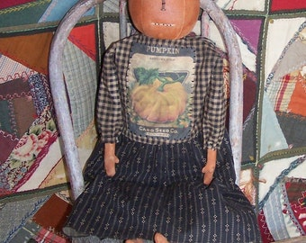 Primitive Doll, Orange Pumpkin Doll, Pumpkin Rag Doll, Halloween Doll, Handmade American Folk Art, Vintage Seed Packet - READY TO SHIP