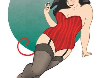 "Curvy Pinup - 8x10 art print / fat, bbw, body positive, corset stockings devil girl ""Beelzeboobs"""