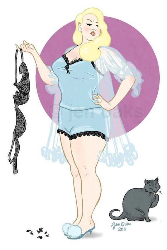 """Curvy Pinup - 8x10 art print / fat, bbw, body positive, lacy blonde babe, bad cat """"Naughty Kitty"""""""
