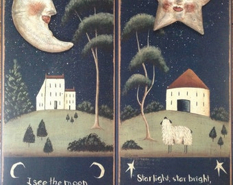 Celestial Moon & Star folk art prints by Donna Atkins. 'I See the Moon' and 'Starlight, Starbright' For Night Lovers, Nursery, Child's Room