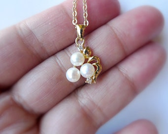 Amabelle 1 . white cultured pearl pendant and chain . GP 14K