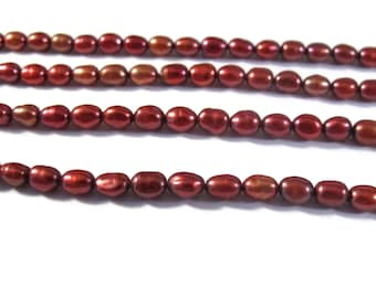 Red Pearl Beads, Lustrous Rice Pearls, Freshwater Pearls for Making Jewelry, 5mm x 3.5mm, Jewelry Supplies (P-R15)