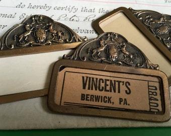 Vintage State Police Badges , Set of 2 Pins Brass or Copper Mixed Media Artwork