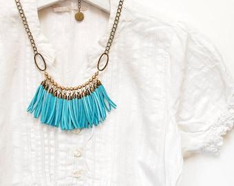 Fringe Bib Necklace, Chunky Necklace, Turquoise Necklace, Statement Bib Necklace, Tassel Necklace, Beaded Necklace