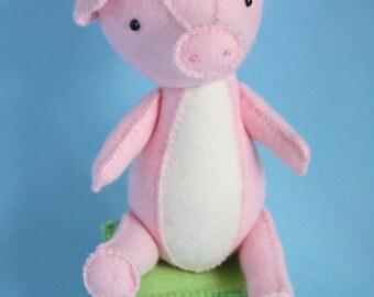 pig sewing pattern, pig PDF pattern, pig toy, pig plush, felt pig, pig pattern, hand sewing pattern, pig stuffed toy, pig toy pattern, pig