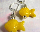 Fish Carved Stone Earring...