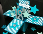 Pop Up Birthday Card - 18th Birthday Card - 3D Star Explosion Card - Choose any Age - 40, 60, 70, 80 - Card in a Box - Teal and Silver