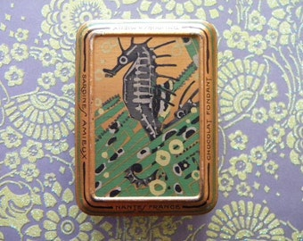 Antique Art Deco Candy Tin with Seahorse French Chocolate Fondant Amieux Freres France