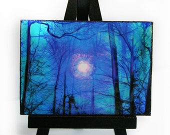 Winter sunrise, Easel and art set, Miniature,mounted aceo #Blue landscape #trees #winter trees #aceo original #Miniature art #Landscape art