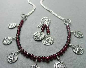 Garnet Necklace Red Gemstone Necklace Metal Charms Sterling Silver Fine Silver Necklace Earring Set Gift for Her Gemstone Necklace Earrings
