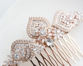 Rose Gold Bridal Hair Comb Rose Gold Wedding Headpiece Crystal Hair Comb Rose Gold Wedding Hair Clip Art Deco Bridal Hair Accessories EVIE L