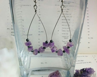 Amethyst and Hematite Earrings, One of a Kind