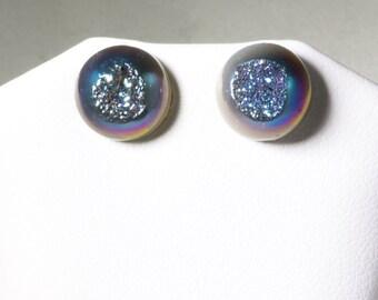 Brilliant Blue Druzy Earring Real Drusy Earring Cabachon Post Stud Earring Nickel Free Earring Fine Druzy Jewelry Titanium Druzy FD-E-106-B