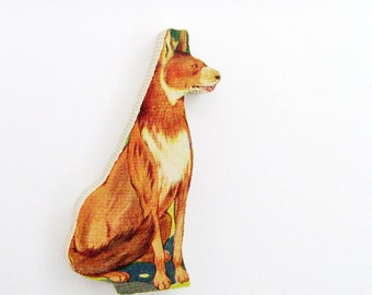 1960s Coyote Brooch - Pin / Unique Gift Under 50 / Upcycled Vintage Hand Cut Wood Jewelry / Brown & Beige Jungle Animal