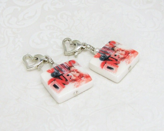 2 Photo Charms with Heart Lobster Claw Clasps - C5fx2a