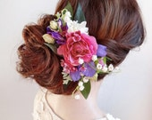 bridal hair comb, pink hair flower, fuchsia wedding, bridal headpiece, wedding hair piece, floral headpiece, floral hair clip, lily valley