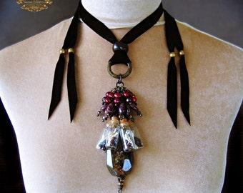 Green Garnet Red Tourmaline Tribal Amulet Necklace Glass Vial Bottle Bone Specimen Pagan Talisman Boho NIGHT VISION by Spinning Castle