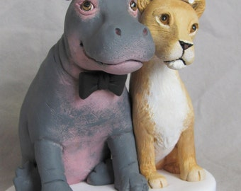 Custom Made Clay HIPPO & LIONESS Lion  Wedding Cake Topper Sculpture Bride Groom Dog Cat Pet Animal Safari