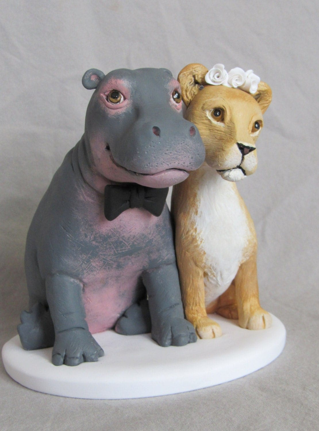 Custom Made Clay HIPPO & LIONESS Lion by CustomDogCakeToppers