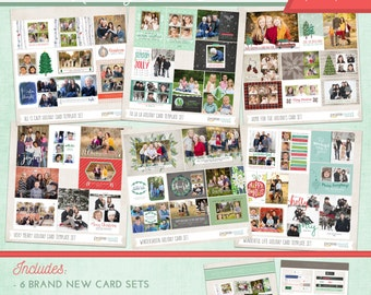 225 Dollar Value! 2016 Holiday Card Photoshop Template BUNDLE | Includes 24 Cards Each w/ Address Labels and BONUS Card Catalog Selling Tool