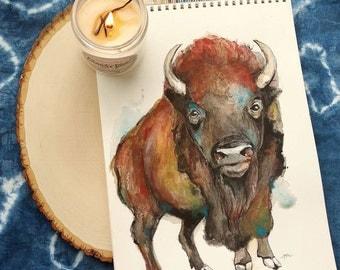 Bison print, bison print, bison painting, buffalo painting, watercolor buffalo, watercolor bison, wild buffalo, wild bison, bison farm
