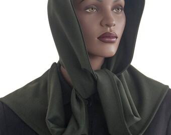 SALE Hood Scarf Wrap Scarf Green Wool Blend Hood Scarf Head Hoodie Wrap Scarf Handmade